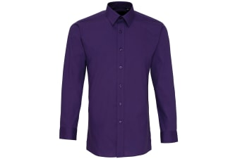 Premier Mens Long Sleeve Fitted Poplin Work Shirt (Purple)