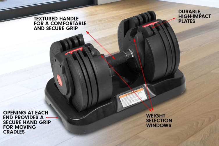 1x 20kg Powertrain Adjustable Home Gym Dumbbell with Bench