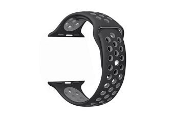 Soft Silicone Replacement Band For Apple Watch Series 3, Series 2, Series 1, Sport , Edition Black Gray 38Mm