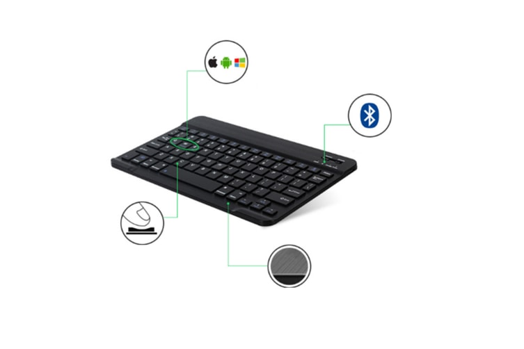 Select Mall Universal 7 InchUltra-thin Mini Rechargeable Wireless Bluetooth Keyboard Compatible with Three Systems-Black