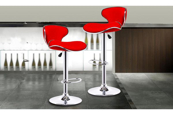 2x PU Leather Swivel Bar stool Gas Lift Adjustable RED (ED0207)