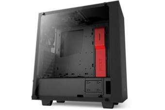 NZXT S340 Elite Compact Mid Tower Case - With Tempered Glass Windows black/red
