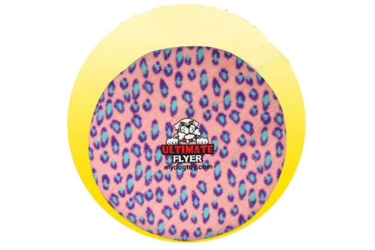 VIP Tuffy Ultimate Flyer Disc Dog Squeaky Toy (Pink Leopard Print) (30.4 x 5.2cm)