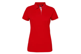 Asquith & Fox Womens/Ladies Short Sleeve Contrast Polo Shirt (Red/ White) (S)