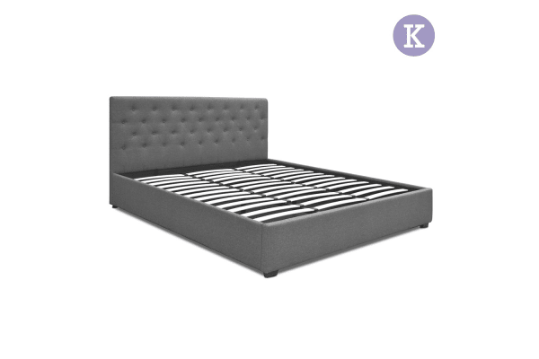 King Gas Lift Fabric Bed Frame with Headboard - Kogan.com