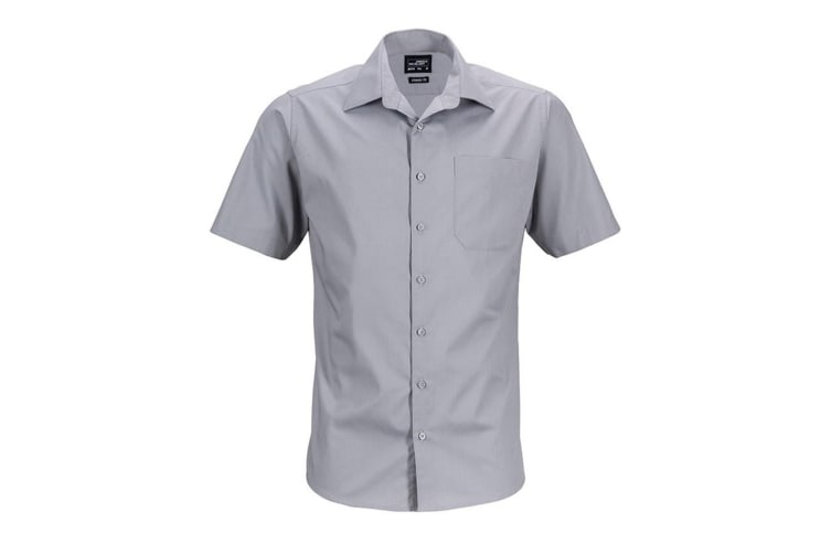 James and Nicholson Mens Shortsleeve Business Shirt (Steel Grey) (4XL)
