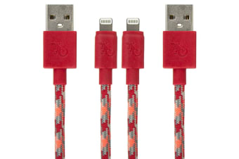 2PK Gecko Braided USB to Lightning Cable Data Sync 1.2m Cord for iPhone Flame OR