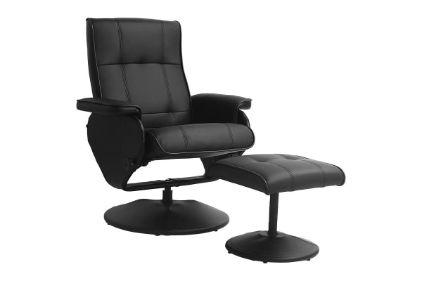 Ergolux Washington Recliner Chair with Ottoman (Black)