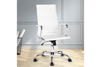Artiss Eames Replica Office Chair Leather Executive Computer Chairs Seat White