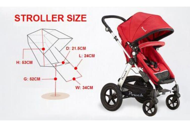 Pouch 2 IN 1 BABY TODDLER PRAM STROLLER JOGGER ALUMINIUM WITH BASSINET blue colour
