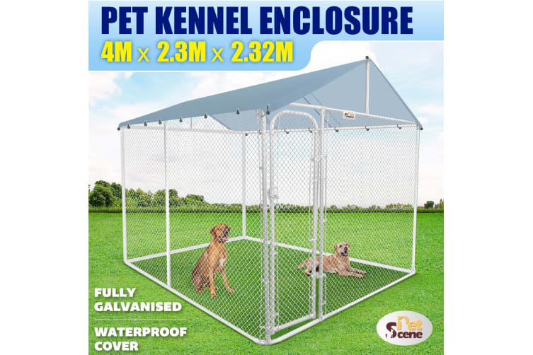 4mx2.3x2.32m Pet Kennel Enclosure Dog Cage Animal House With Waterproof Roof Cover
