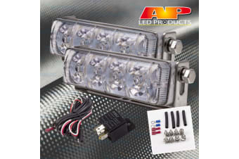 AP LED DAY DAYTIME RUNNING LIGHTS LAMPS PAIR FULL KIT CAR STRIP BAR REVERSING