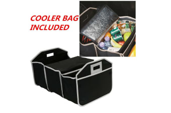 Collapsible Car Boot Organizer with Cooler Bag Trunk Storage Bag 53x33x30.5CM