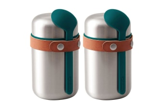 2PK Black + Blum 400ml Vacuum Insulated Stainless Steel Food Flask w  Spoon Blue