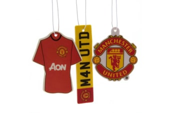 Manchester United FC Air Fresheners (Pack Of 3) (Red)