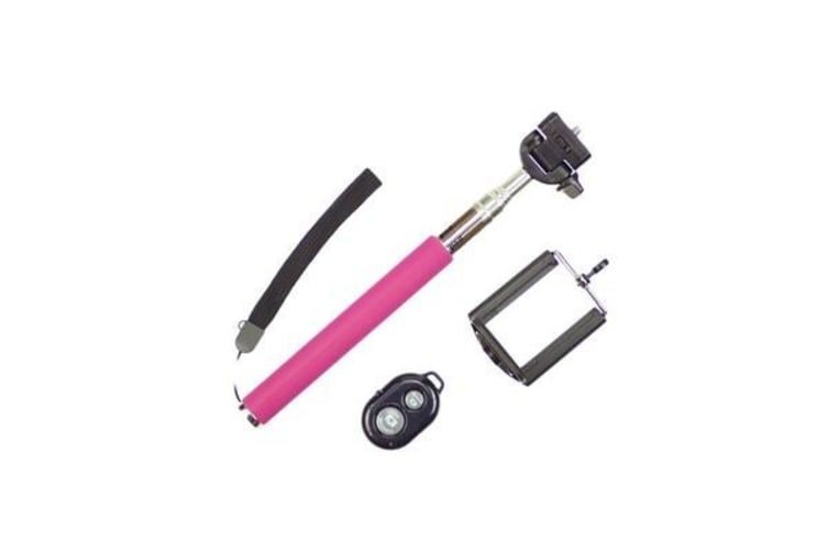 Bluetooth Remote Control Selfie Stick Monopod Extendable Iphone Samsung - Pink