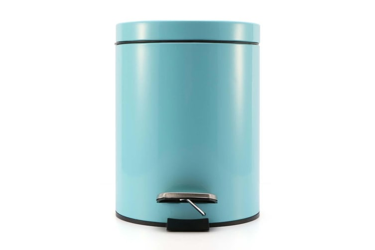 SOGA 4X 12L Foot Pedal Stainless Steel Rubbish Recycling Garbage Waste Trash Bin Round Blue