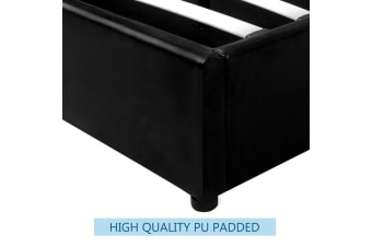 LUXDREAM Queen Size Gas Lift PU Leather Bed Frame Headboard Wooden Bed Base
