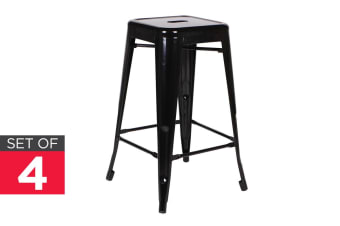 Ovela Set of 4 Tolix Replica 66cm Stools (Black)