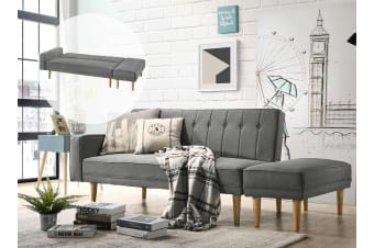 Scandinavian 3 Seater Sofa Bed w/ Ottoman Futon Couch - Light Grey