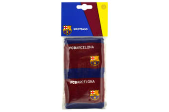 FC Barcelona Official Football Crest Sport Wristbands (Pack Of 2) (Burgundy/Blue) (One Size)