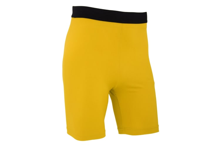 FLOSO Mens Premium Baselayer Quick Drying Wicking Sports Shorts (Yellow) (L)