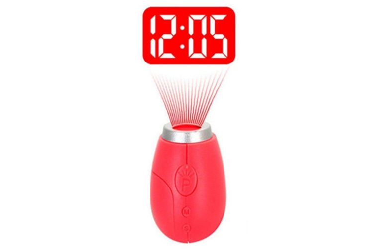 Select Mall Creative Projection Electronic Clock LED Digital Clock Mini Portable Projection Clock Flashlight Keychain-Red