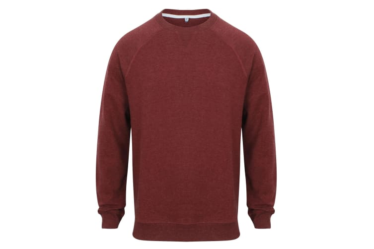 Front Row Adults Unisex French Terry Sweatshirt (Burgundy Marl) (L)