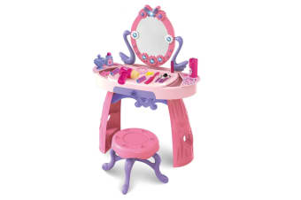 Girls Vanity Makeup Dressing Table Stool Playset Pretend Toy Kit w/ Light and Music - Pink and Purple