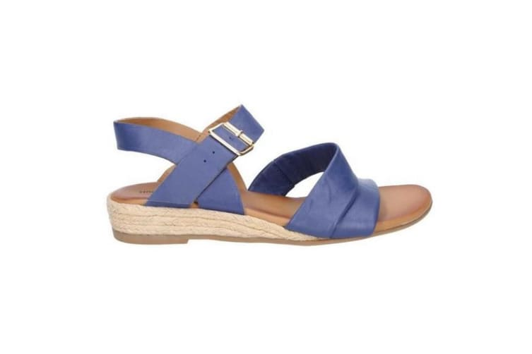 Hush Puppies Womens/Ladies Ruby Buckle Strap Wedge Leather Sandals (Blue) (4 UK)