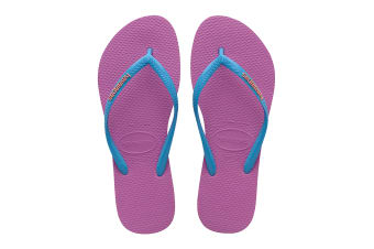 Havaianas Slim Logo Pop Up Thongs (Ice Pink/Turquoise)