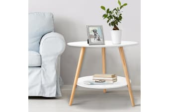 Coffee Table Side Table Bedside 2 Tier Storage Living Room Office