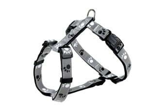 Trixie Silver Reflect H-Harness For Dogs (Black/Silver Grey) (M–L)