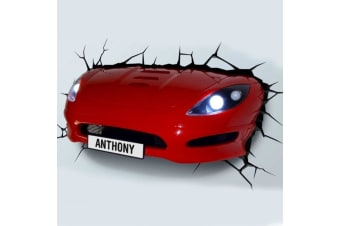 3D Crashed Sports Car | Boys Room LED Wall Light | 3DLightFX