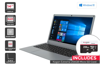 "Kogan Atlas 14.1"" N300 Notebook + 256GB Micro SD Card Bundle"