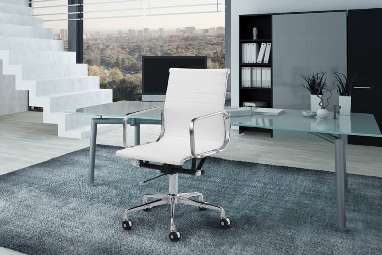 Ergolux Eames Replica Low Back Ribbed Office Chair - Executive Collection (White)