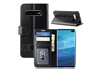 For Samsung Galaxy S10 Plus Case  Black Horse Texture Stand Flip Wallet Cover