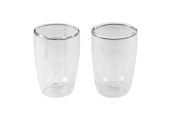 2PC Leaf & Bean 280ml Double Wall Espresso Coffee Tea Hot Cold Drinking Glass