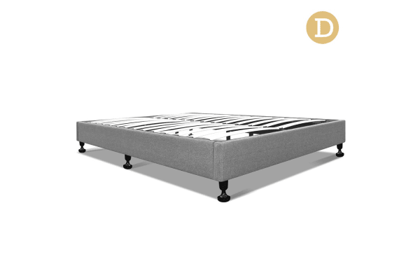 Double Linen Fabric Bed Base (Grey)