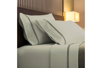 Renee Taylor 1000TC Sorrento Sheet Set Cotton Soft Touch Hotel Quality Bedding - Queen - Silver