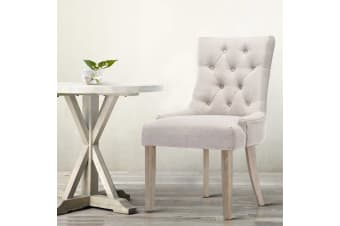 Artiss Dining Chair CAYES French Provincial Chairs Wooden Fabric Retro Cafe x2
