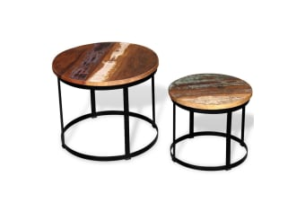 vidaXL Coffee Table Set 2 Pieces Solid Reclaimed Wood Round 40/50cm