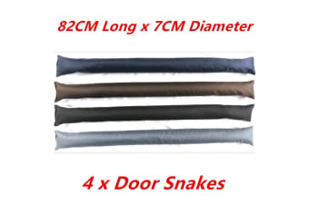 4 x Plain Color DOOR SNAKE Saw Dust n Rock Filled Draft Stopper Draught Excluder Heavy Duty