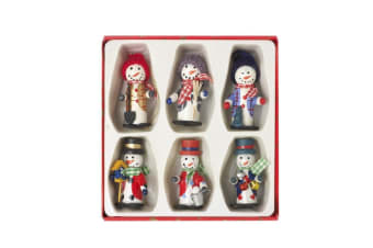 Christmas Snowman Tree Decorations (Pack Of 6) (Multicoloured) (One Size)