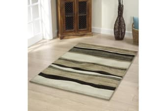 Stunning Thick Wave Rug Beige Brown 290x200cm