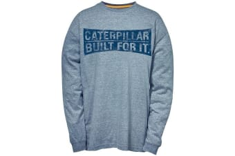 Caterpillar Mens Curved Banner Long Sleeve T-Shirt (Dark Heather Grey)