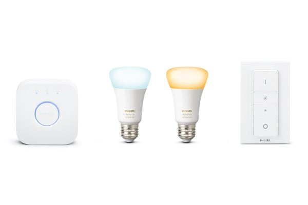 Philips Hue White Ambient Kit with Bridge, 2 x E27 Smart Bulbs & Switch
