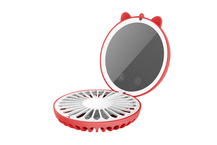 Led Lamp Usb Charging Beauty Mirror Colorful Ambient Lamp Neck Fan - Red Red 84*110*40Mm