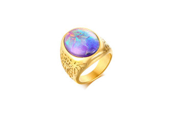 Created Oval Gemstone Setting Gold Statement Ring Gold 8