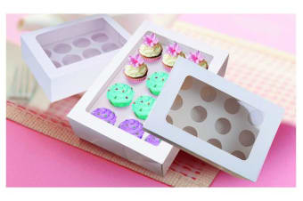 5 x Cupcake Boxes 12 Hole Window Face With Inserts